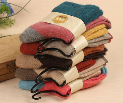 5 Pairs Women Wool Cashmere Thick Winter Socks Warm Soft Solid Casual Sports • 6.99£