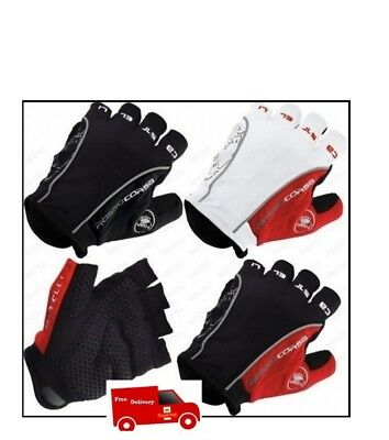 Castelli Rosso Corsa Classic HALF FINGER Gloves Cycling Bicycle Gloves, Free P&P • 12.95£