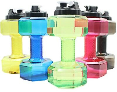 2.2L Water Bottle Sports Dumbbell Dumbell Shaped Gym Jug Workout Fitness Protein • 6.99£