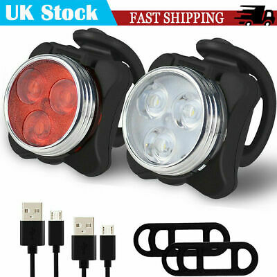 Bike Head Tail Light Set Super Bright USB Rechargeable Bicycle Lights Waterproof • 7.49£