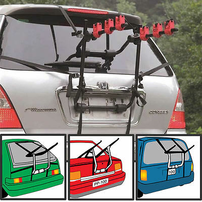3 Bicycle Bike Car Cycle Carrier Rack Universal Fitting Saloon Hatchback Estate • 44.99£