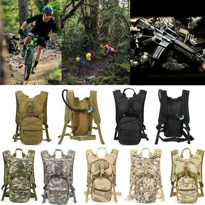Tactical Hydration Pack Camo Backpack Packsack Outdoor Riding Hiking Camping • 23.18£
