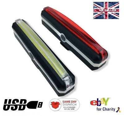 LED USB Rechargeable Bike Bicycle Lights White Front Red Back IP4 Waterproof UK  • 10.12£