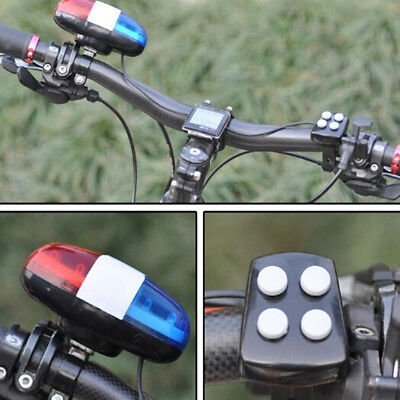 6bike Bicycle Police Led Light + 4 Loud Siren Sound Trumpet Cycling Horn Bel Pa • 7.37£