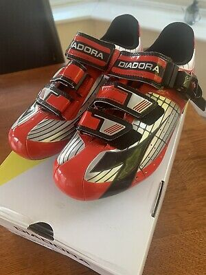 Diadora Tornado Road Track Cycling Shoes Size 38 Uk 4 Glossy Red CompoSite • 30£