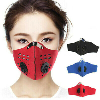 Activated PM2.5 Reusable Mouth Face Mask Carbon Filter Air Valve Cycling Masks • 8.59£