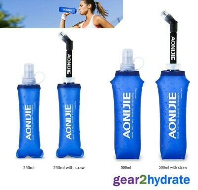250/500ml Foldable Water Bottle Folding Drink Outdoor Sport Travel Running Straw • 10.49£