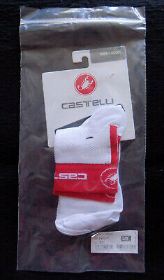 Castelli Free 6 Men's Cycling Socks Size L/XL - White/Red - One Pair • 15£