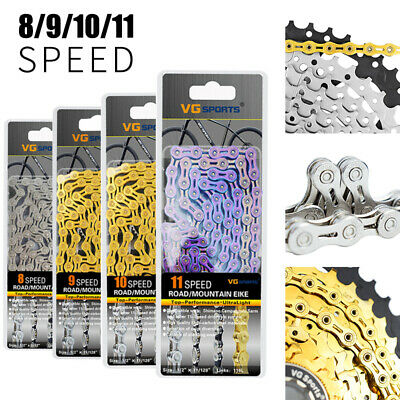 6/7/8/9/10/11 Speed Bicycle Chain Half-Hollow 116 Links MTB Road Bike Chains New • 12.89£