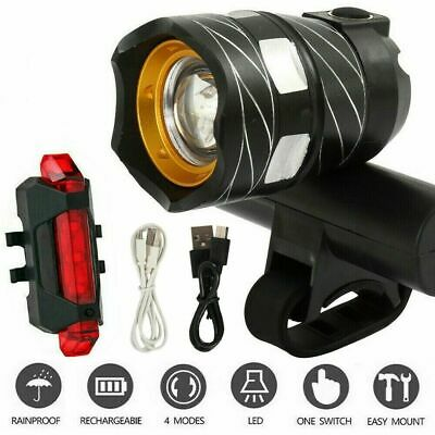 Rechargeable 15000LM XM-L T6 LED MTB Bicycle Lights Bike Front+Rear Headlight • 7.68£