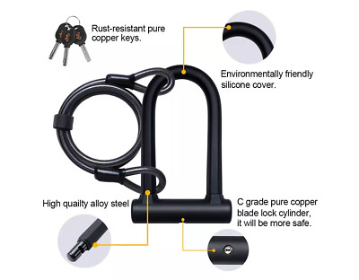 Inbike Heavy Duty Strong Steel Anti-Theft Bike U-Lock Security Safety Cable Set • 24.99£