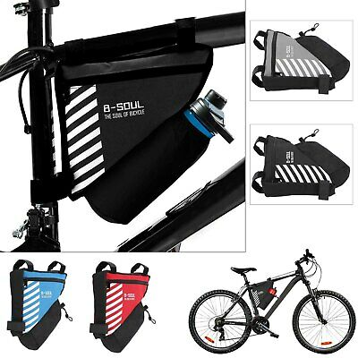 Bicycle Cycling Triangle Front Frame Tube Bag Bike Pannier + Bottle Pocket UK • 3.99£