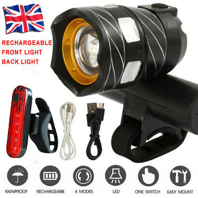 Bicycle LED Bike Lights MTB Rear/Front Set 15000LM Headlight USB Rechargeable UK • 9.99£