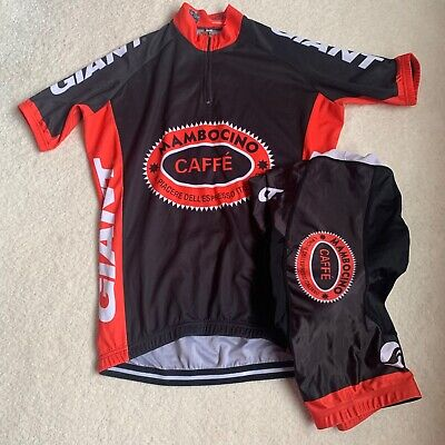 Giant Mambocino Caffe Black & Red Jersey And Bib Shorts Uk Size Mens Medium • 20£