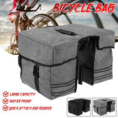 Bike Double Panniers Bag MTB Mountain Bicycle Cycling Rear Seat Trunk Rack Pack • 11.99£