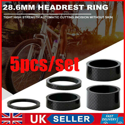 UK 5pcs/set 28.6mm Carbon Fiber Washers MTB Bike Bicycle Headset Stem Spacers • 5.69£