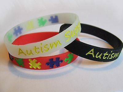 Support Autism Awareness Wristband RED BLACK GLOW In The DARK Silicone Bracelet • 12£