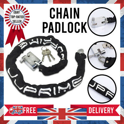 NEW Chain Pad Lock Keys Heavy Duty Motorbike Motorcycle Bicycle Scooter • 8.49£