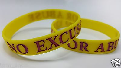 NO EXCUSE FOR ABUSE Domestic Violence SMALL Youth Awareness Wristband Support  • 12.99£