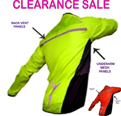 Cycling Jacket Highly Visibility /hi Viz Windproof/breathable Showerproof    !!! • 6.99£