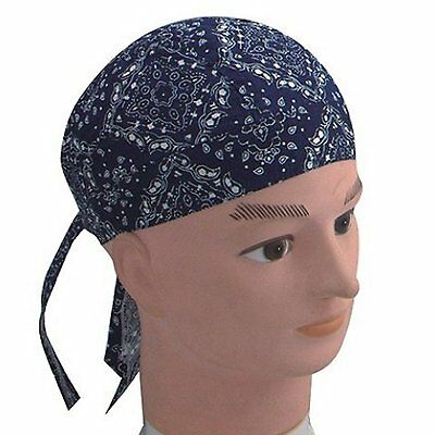Fitted Bandana Headscarf One Size Zandana Washed Blue White Paisley Cotton • 3.99£