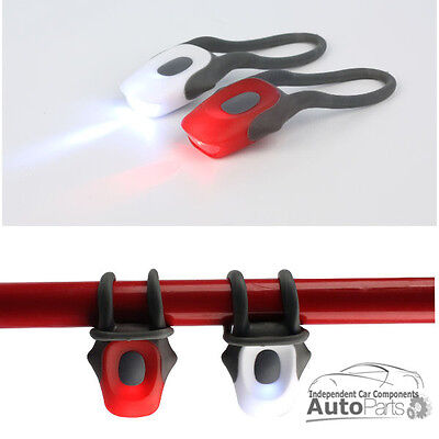 New SILICONE BICYCLE BIKE LED LIGHTS - FRONT & REAR TWIN PACK- FLASH & CONSTANT • 2.99£