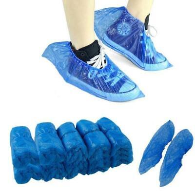 100 500 Disposable Shoe Cover Blue Anti Slip Plastic Cleaning Overshoes Boot UK • 29.99£