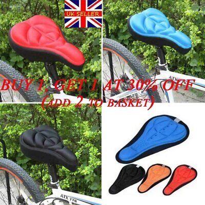 Sports Comfortable Silicone Saddle Cover  Gel Cushion Bike Seat Pad Cycling New~ • 3.99£
