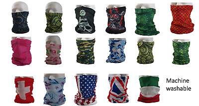 Microfibre Face Covering Neck Tube Snood Scarf 17 Designs Fast Free UK Delivery • 3.99£