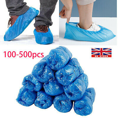 200-500 Shoe Covers Disposable Protector Anti Slip Plastic Overshoes Boot Safety • 6.79£