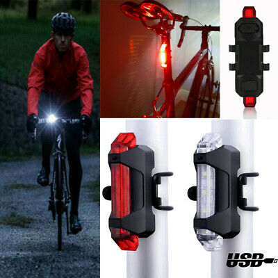 USB Rechargeable Bike Lights Front Rear Hazard Light Waterproof 5 LED Red White • 4.89£
