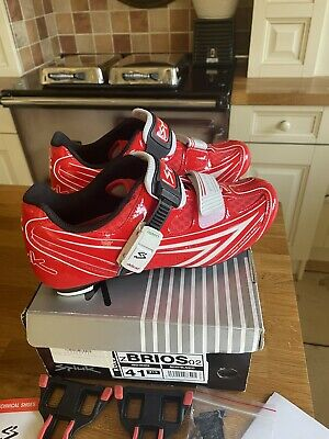 SPUIK BRIOS RED LADIES CYCLING SHOES SIZE 41 Worn Once (INCLUDES CLEATS) • 30£