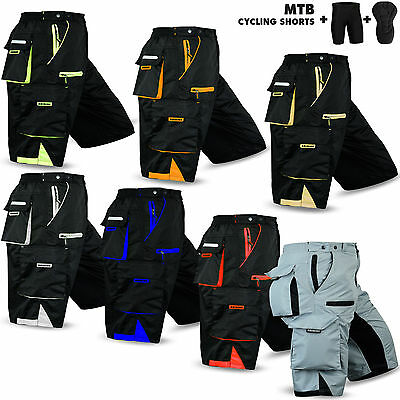 NEW MTB Cycling Short Off Road Bicycle With CoolMax Padded Liner Shorts • 17.99£