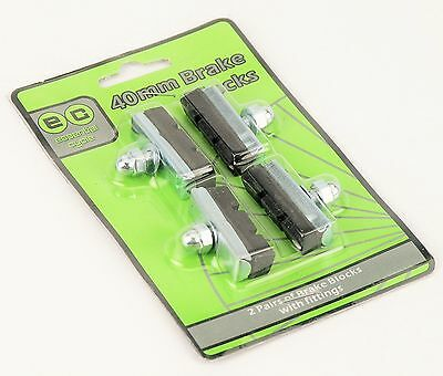 2 Pairs 40mm Brake Blocks With Fittings Road Bike Mountain Bicycle Black Silver • 2.75£