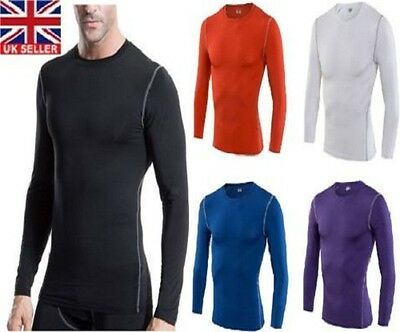 Compression Mens Long Sleeves Top Shirt Base Layer Thermal Sport Gym Cycling • 9.99£