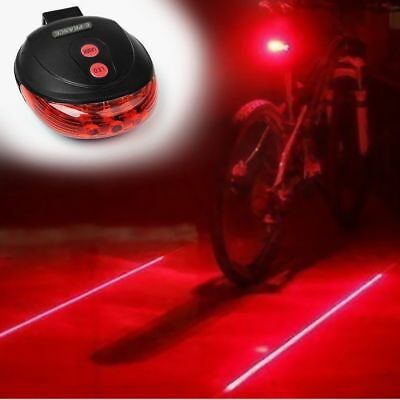 5 LED 2 Laser Bicycle Cycle Bike Red Beam Rear Lights Back Tail Lamp Light ZX003 • 5.99£