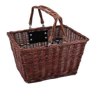 Square Front Wicker Bike Shopping Basket Carry Handle Quick Release Bracket • 24.99£