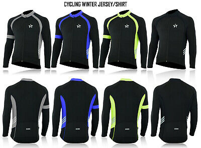 Mens Cycling Long Sleeve Jersey Thermal Super Roubaix Bike Jacket Winter Top • 19.99£