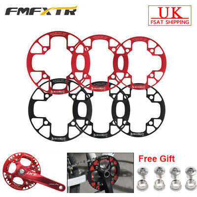UK 104BCD MTB Road Bike Chain Guard 32-42T Chainring Protection Cover+4PCS Bolts • 13.15£