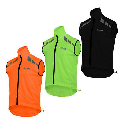 Mens Cycling Gilet Shower Windproof Foldable Running Jacket Breathable High Viz • 12.99£