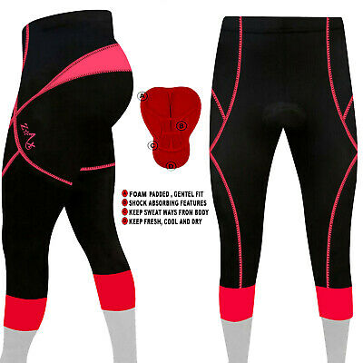 Ladies Cycling 3/4 Tights Padded Cycling Trousers Pant Pink S To XXL • 9.99£