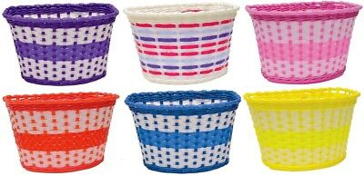 Oxford Bike Bicycle Girls Junior Woven Basket - Pink, Lilac, Red, Blue Or Yellow • 8.95£