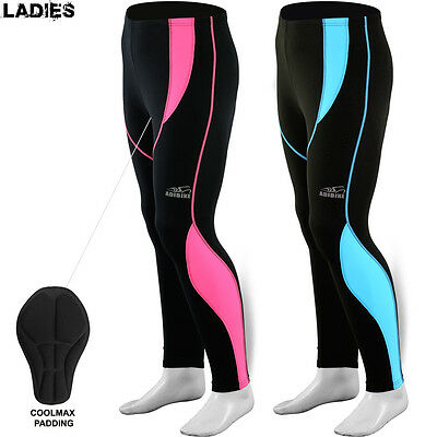 Ladies Women Cycling Tights Cycle Legging Trouser Thermel Long Padded Pant Pink • 12.59£