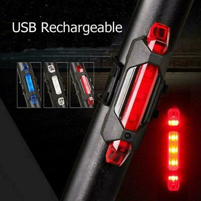 USB Rechargeable Bike Lights Front Rear Set Hazzard Light Waterproof 5 LED Red • 6.79£