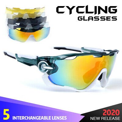 NEW Polarized Cycling Sunglasses, UV400 Sport Goggles + 5 Interchangeable Lens • 15.80£