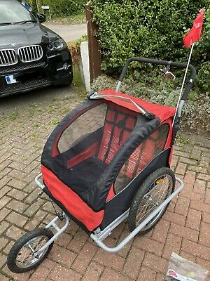 2-in-1 Kids' Bicycle Trailer & Stroller - Red • 36£