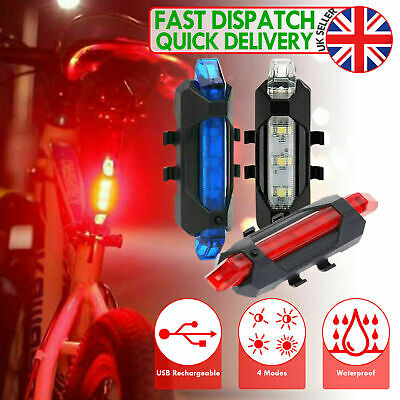 USB Rechargeable Bike Lights Front Rear Warning Light Waterproof 5 LED Red White • 5.99£