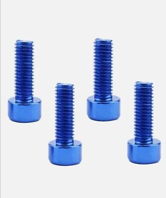 4PCS BLUE M5 X 15mm Aluminum Alloy Bike Water Bottle Cage Holder Bolts Bicycle • 4.49£