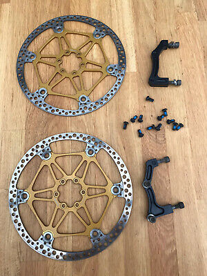 Rare - Hope Gold Floating Rotor Disc Brakes 203mm With Mounting Brackets/Screws • 60£