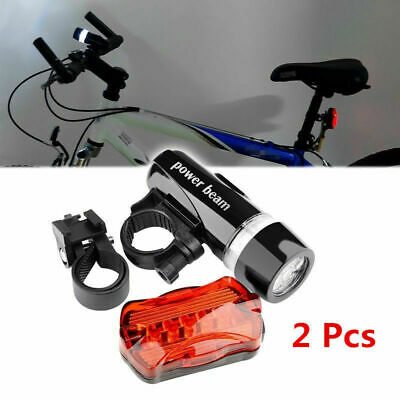 Waterproof Bright 5 LED Bike Bicycle Cycle Front And Rear Back Tail Lights 1set • 4.99£